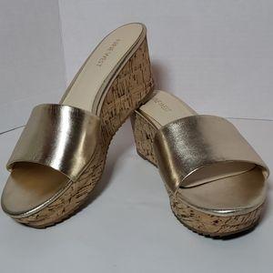 Nine West Confettyo Leather Platform Sandal Sz 9M